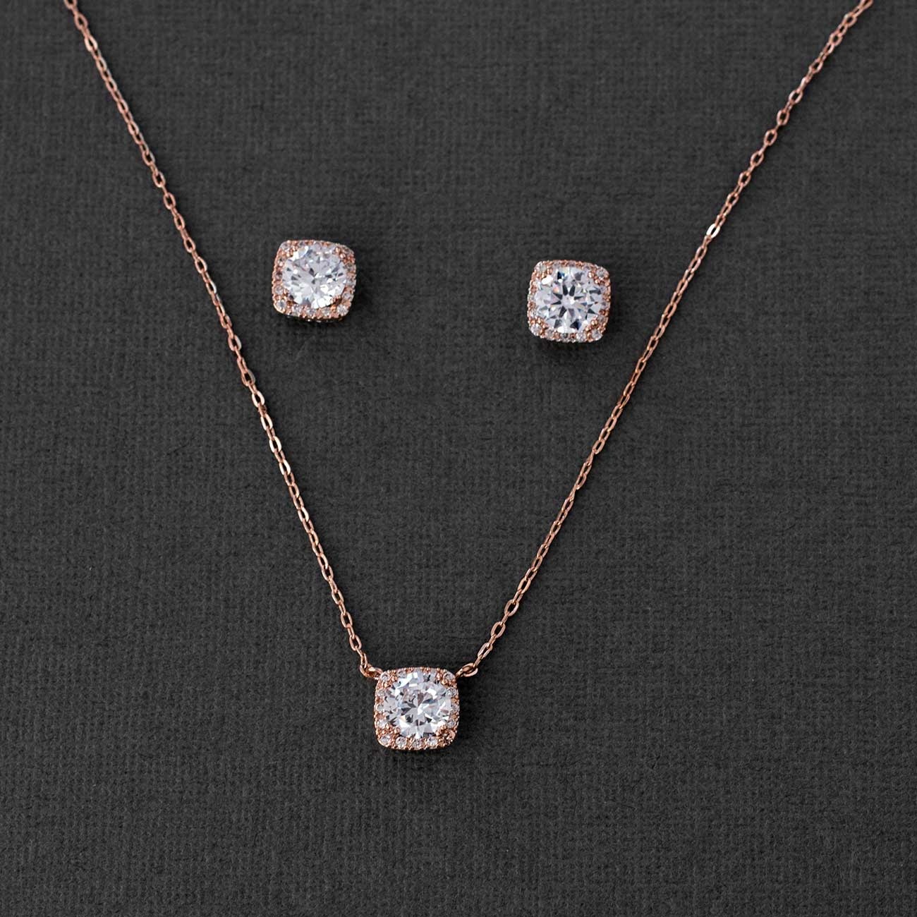 Square Cut CZ Necklace Set