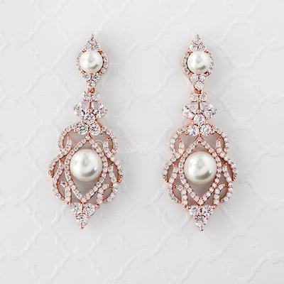 CZ Bridal Art Deco Earrings with Pearls Rose Gold