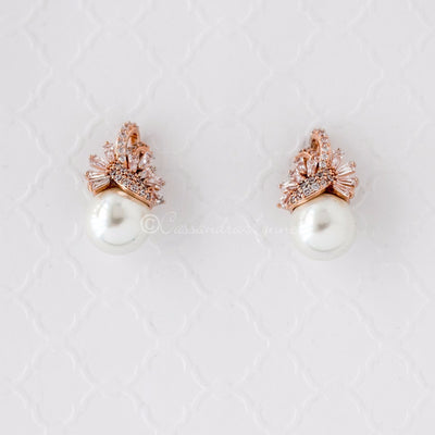 Vintage Pearl and CZ Wedding Jewelry Studs Rose Gold