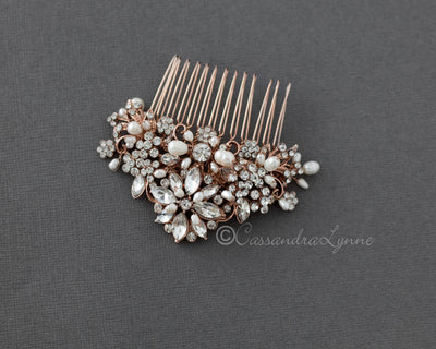 Elegant Bridal Comb with Pearls Rose Gold