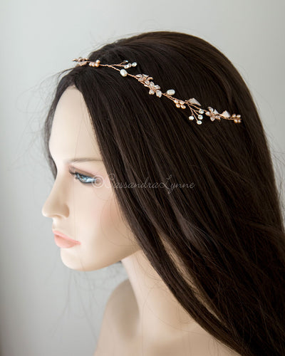 Simple Pink Pearl Bride Hair Vine