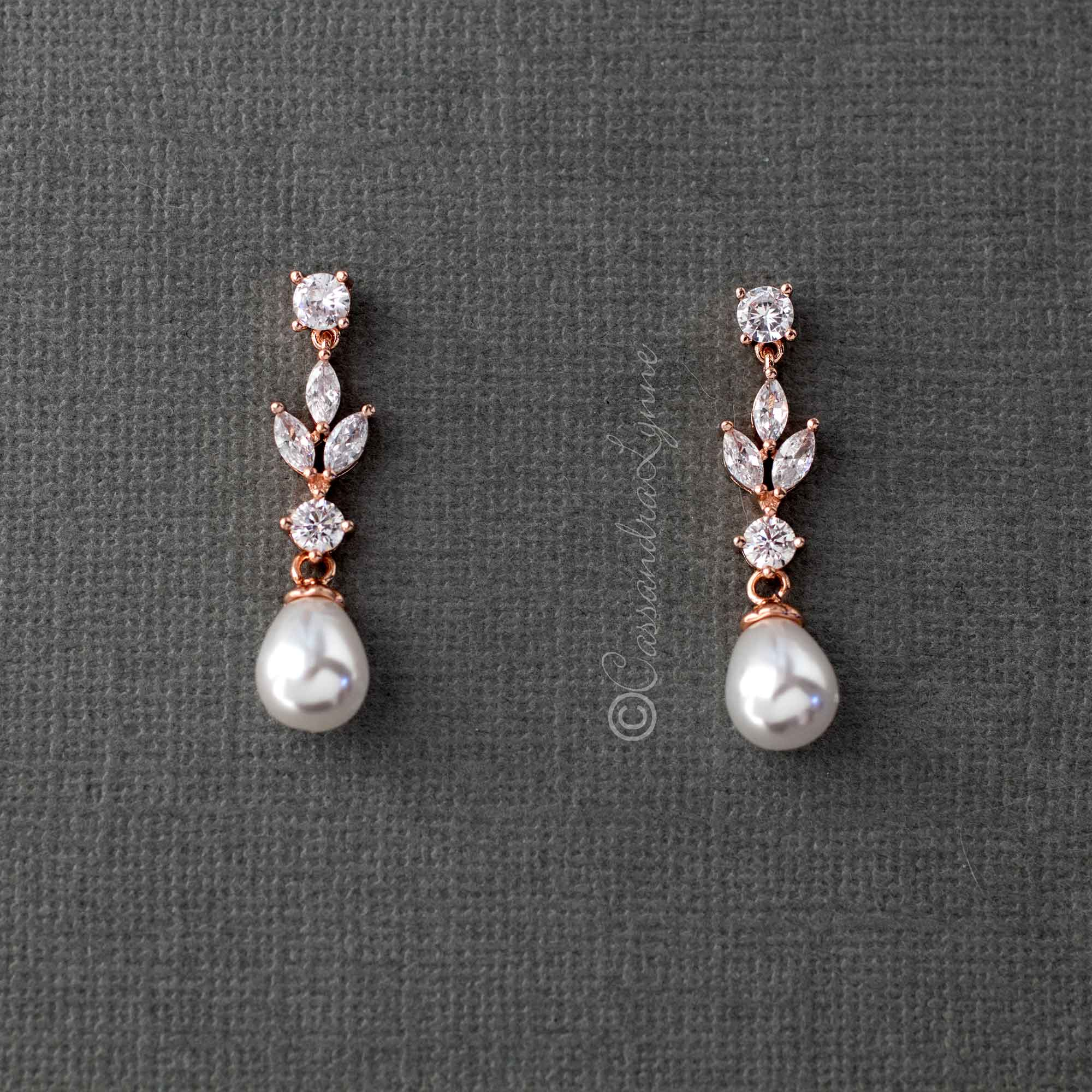 Bridal Earrings of Teardrop Pearls and CZ