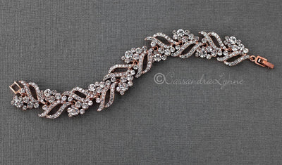 Crystal Bridal Bracelet of Jewels and Leaves