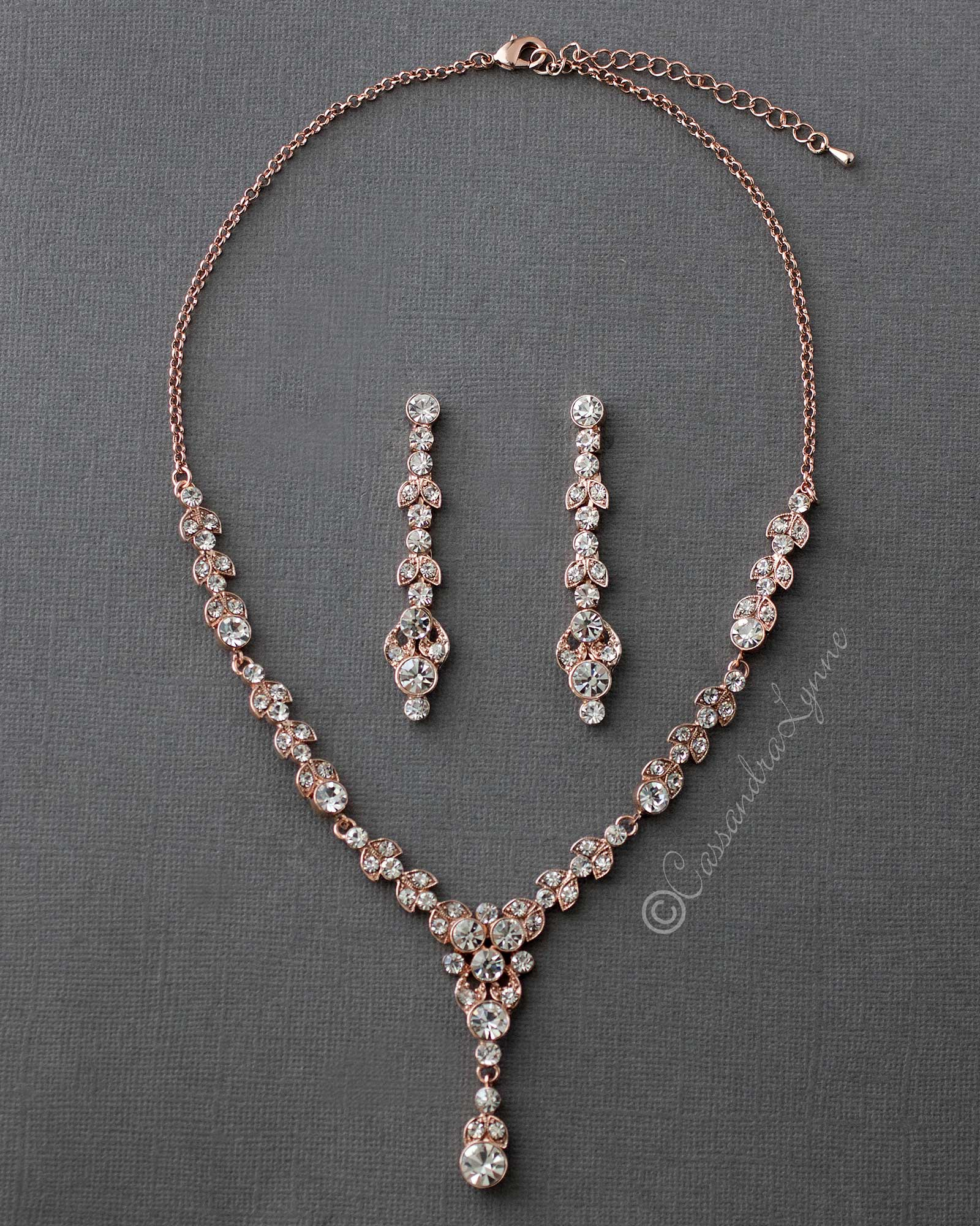 Rose Gold Crystal Wedding neck and Earrings Set
