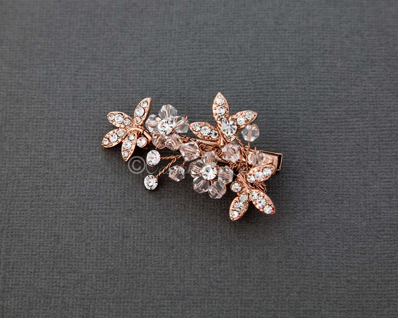 Small Crystal Flowers and Leaves Hair Clip