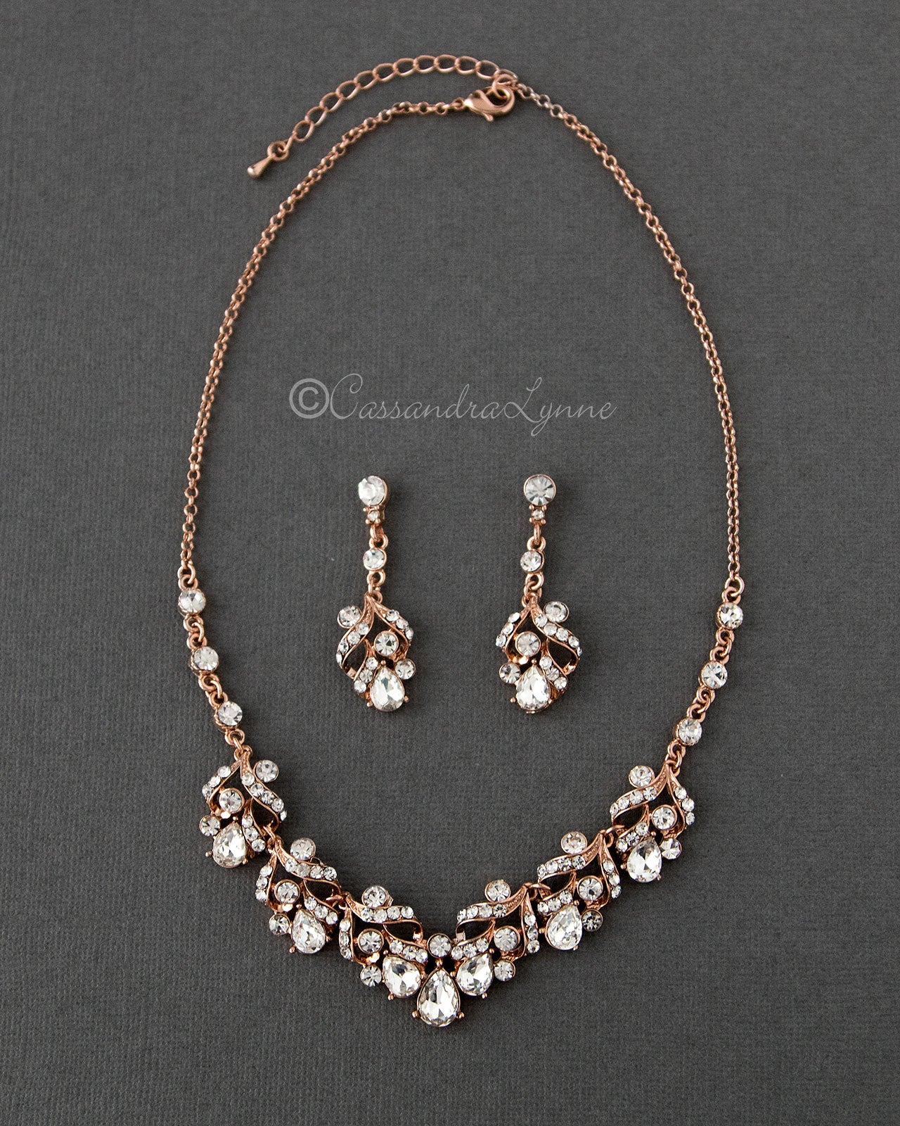 Rose Gold Bridal Necklace Set of Pear Crystals
