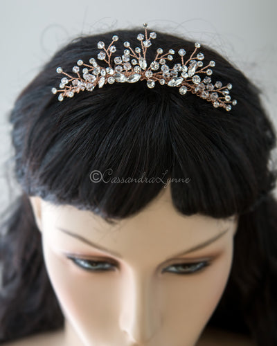 Crystal Rose Gold Tiara Comb