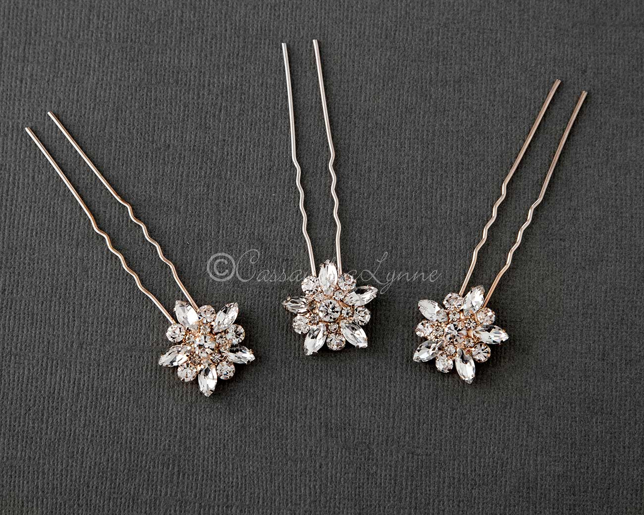 Flower Bridal Hair Pin Set in Rose Gold