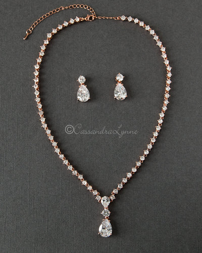 Classic Teardrop Wedding Necklace Jewelry Set