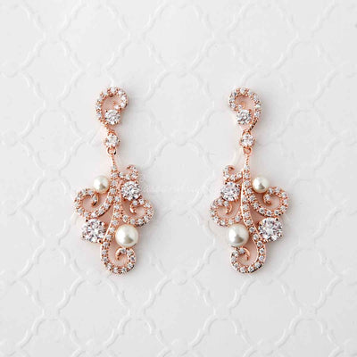 Pearl CZ Earrings with a Swirl Design Rose Gold