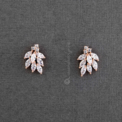 Bridal Earrings with Antique Flair in CZ Rose Gold