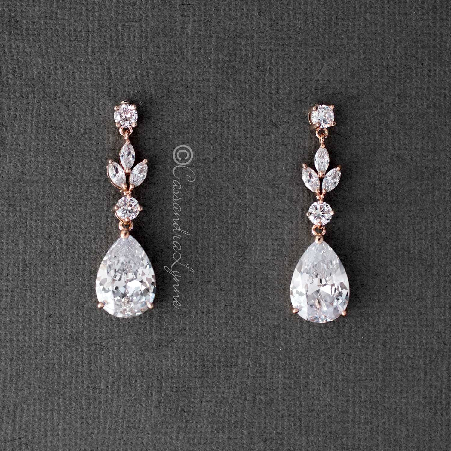 CZ Pear Drop Bridal Earrings