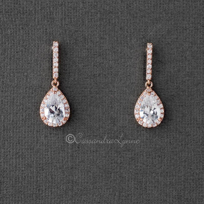 Pave Pear Drop CZ Earrings Rose Gold