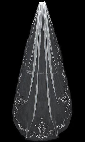 Ivory Cathedral Wedding Veil with Rose Gold Beading
