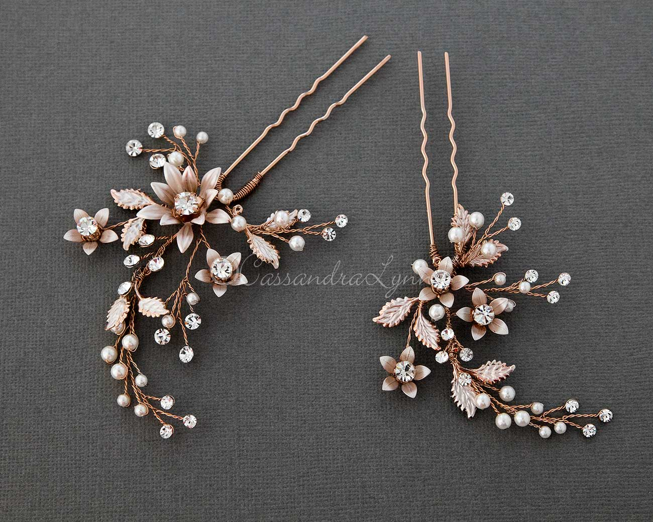 Pearl Bridal Hair Pin Set in Rose Gold