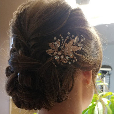 Bridal Hair Pin of Crystals and Leaves