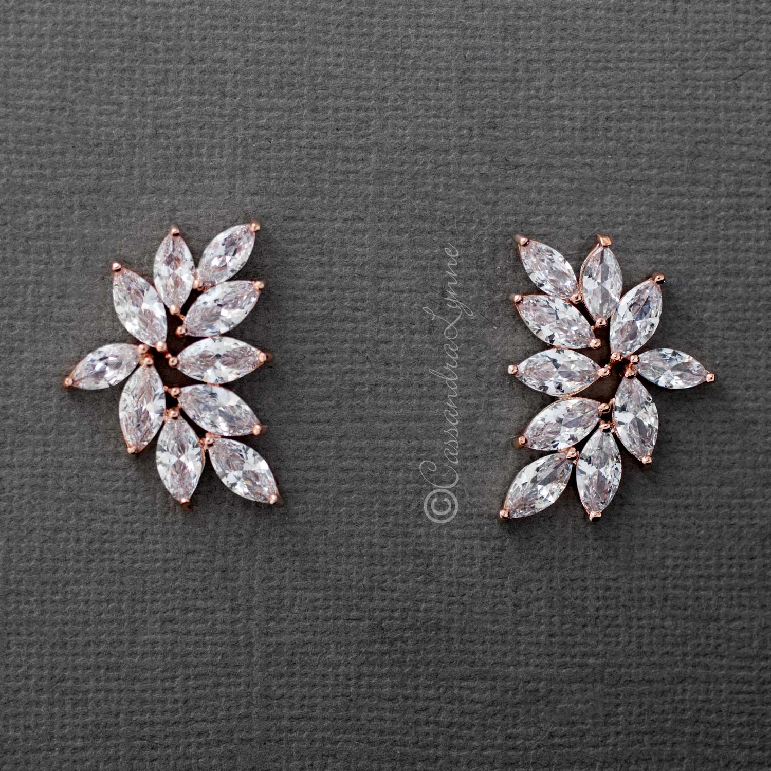 Rose Gold Marquise Leaf Cluster Crystal Earrings