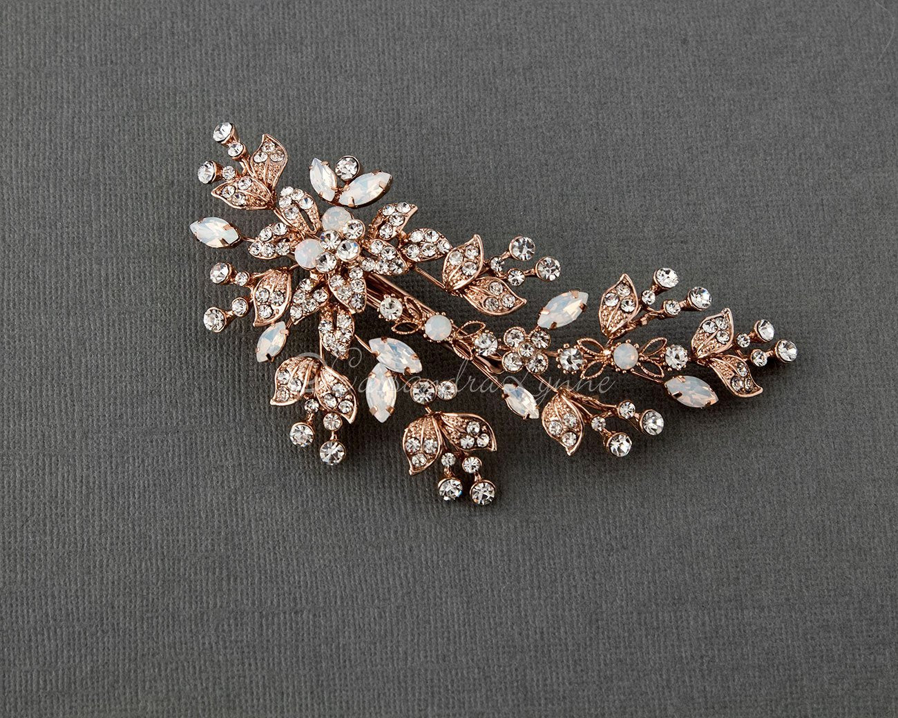 Rose Gold Bridal Clip with White Opal