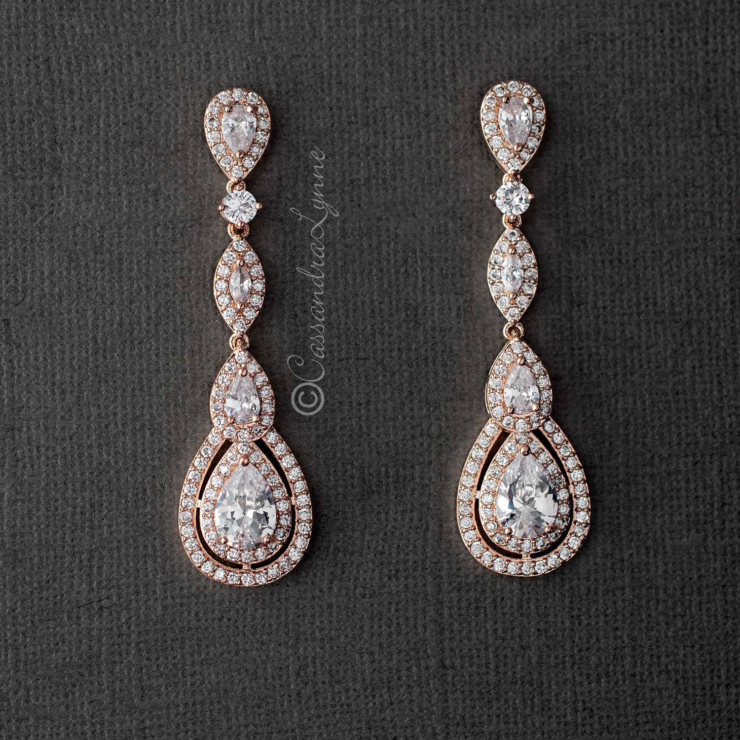 74423c5b31b9c Pave Set Teardrop and Marquise CZ Earrings
