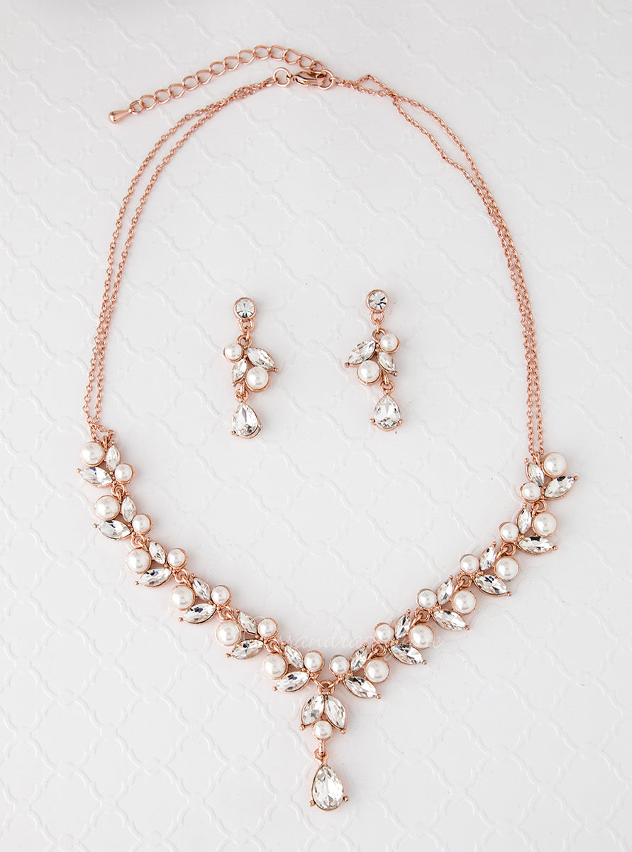 Bridal Necklace Set in Rose Gold with Pearls Cassandra Lynne