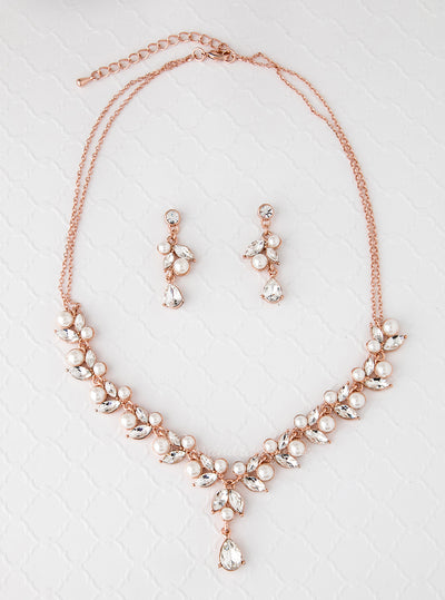 Bridal Necklace Set in Rose Gold with Pearls