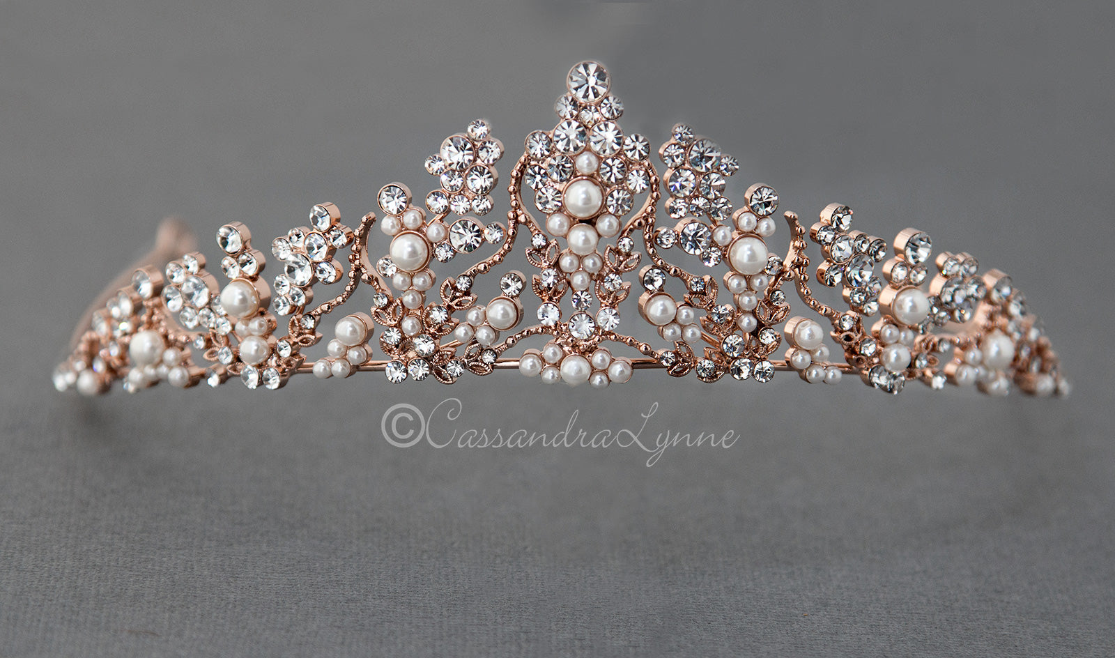 Wedding Tiara of Crystal Clusters in Rose Gold