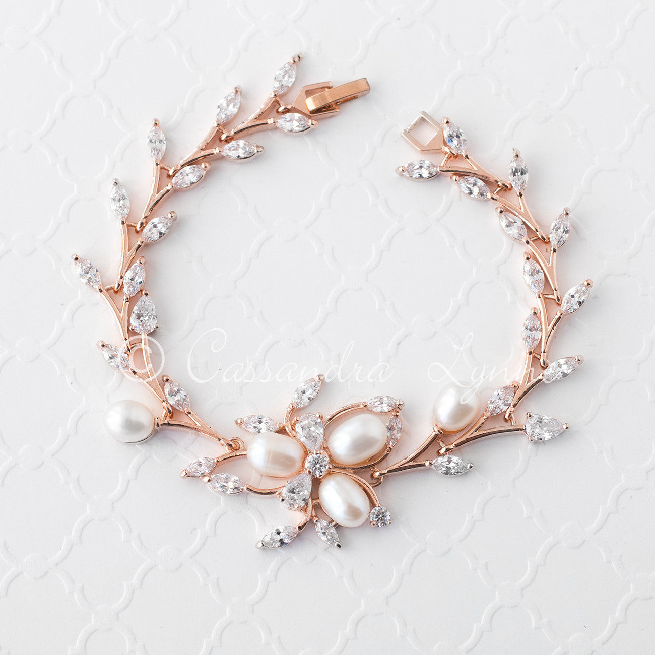 Wedding Bracelet with Ivory Pearl Flower and CZ Vine