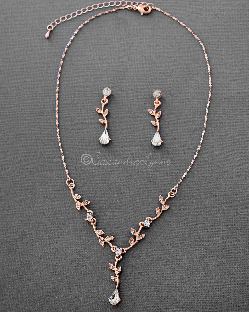 Simple Rose Gold Crystal Vine Necklace Set