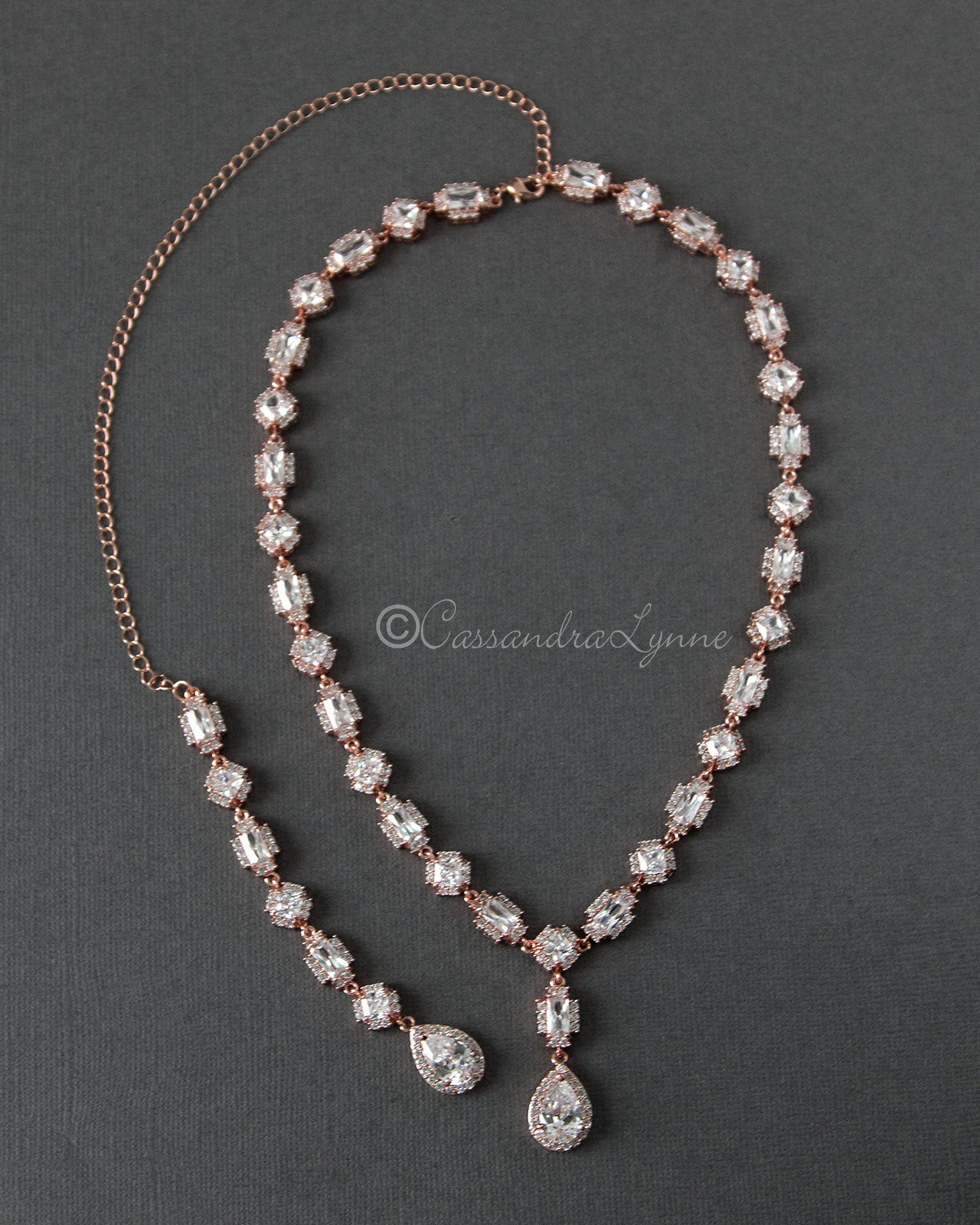 CZ Vintage Wedding Necklace with Back Drop