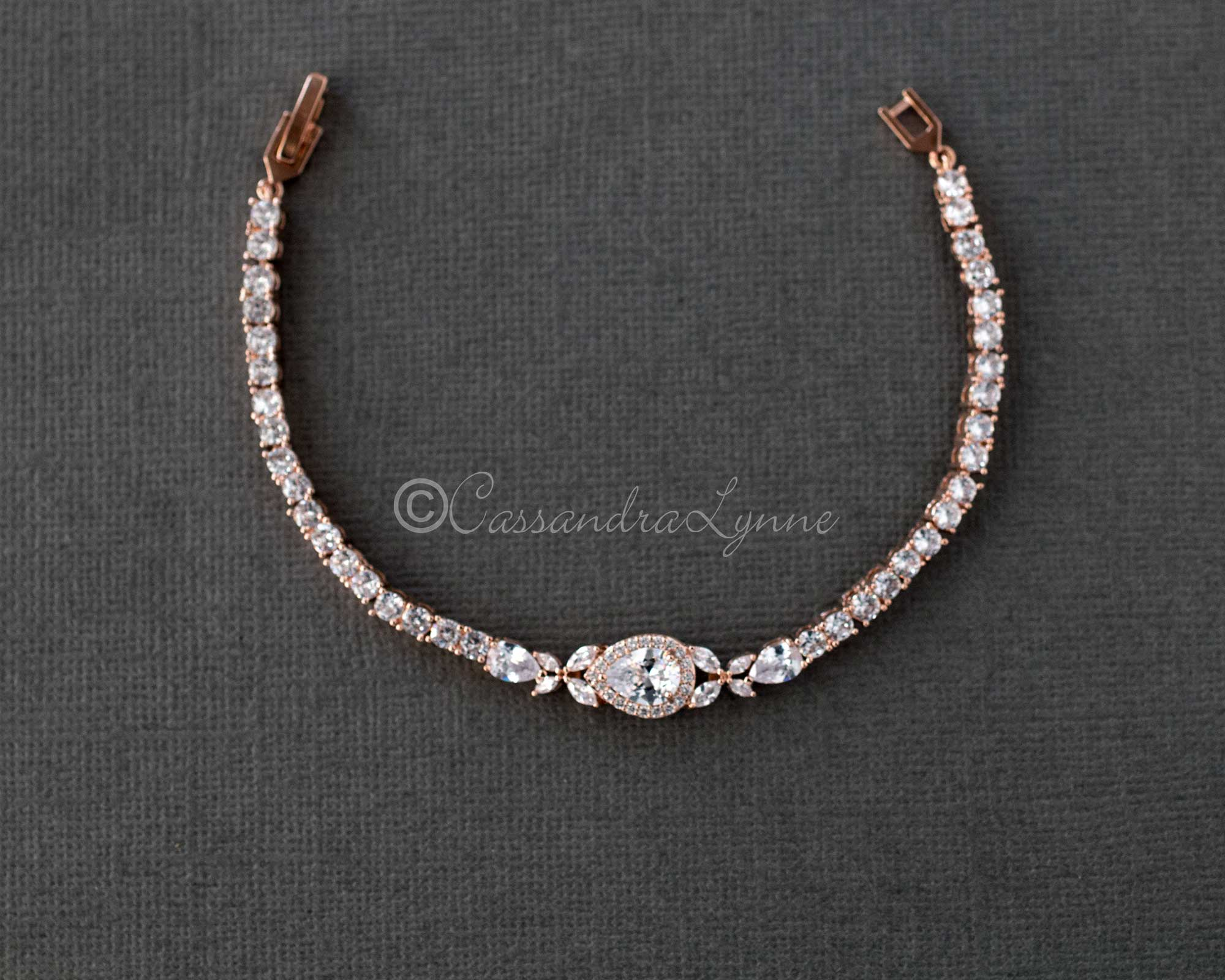 Pave Teardrop Simple CZ Wedding Bracelet