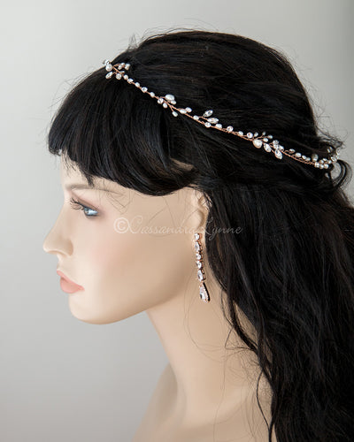Pearl and Crystal Hair Vine in Rose Gold