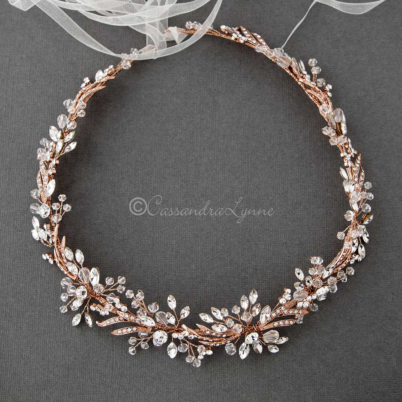Rose Gold Crystal Bridal Halo