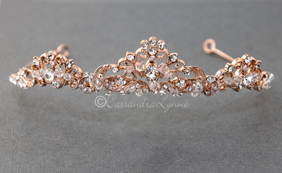 Scrolling Wedding Tiara with Crystals Rose Gold