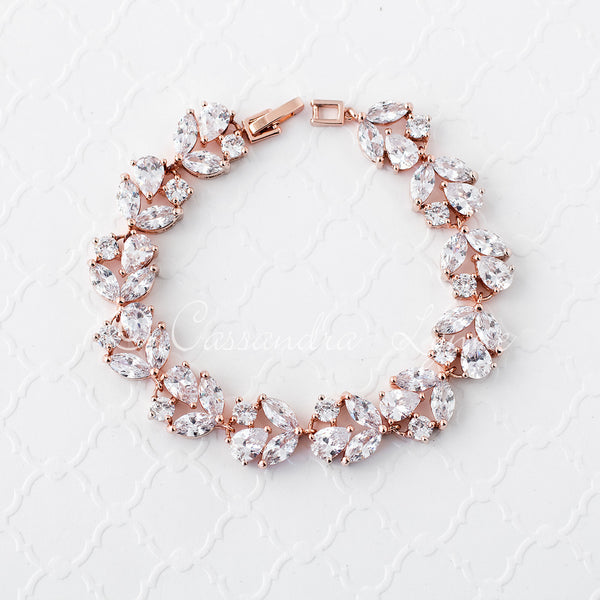CZ Bracelet for the Bride Rose Gold or Silver