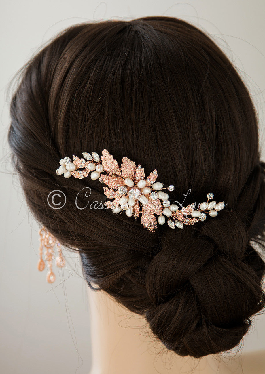 rose gold bridal hair comb with ivory pearls - cassandra lynne