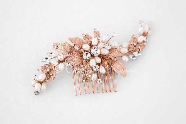 Rose Gold Bridal Hair Comb with Ivory Pearls
