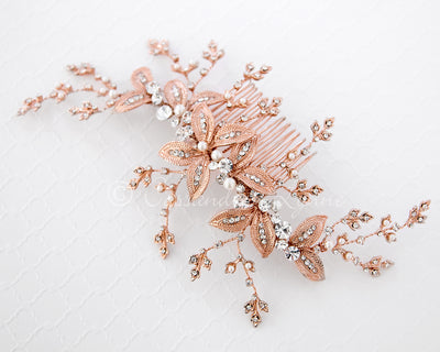 Rose Gold Bridal Headpiece with Ivory Pearls