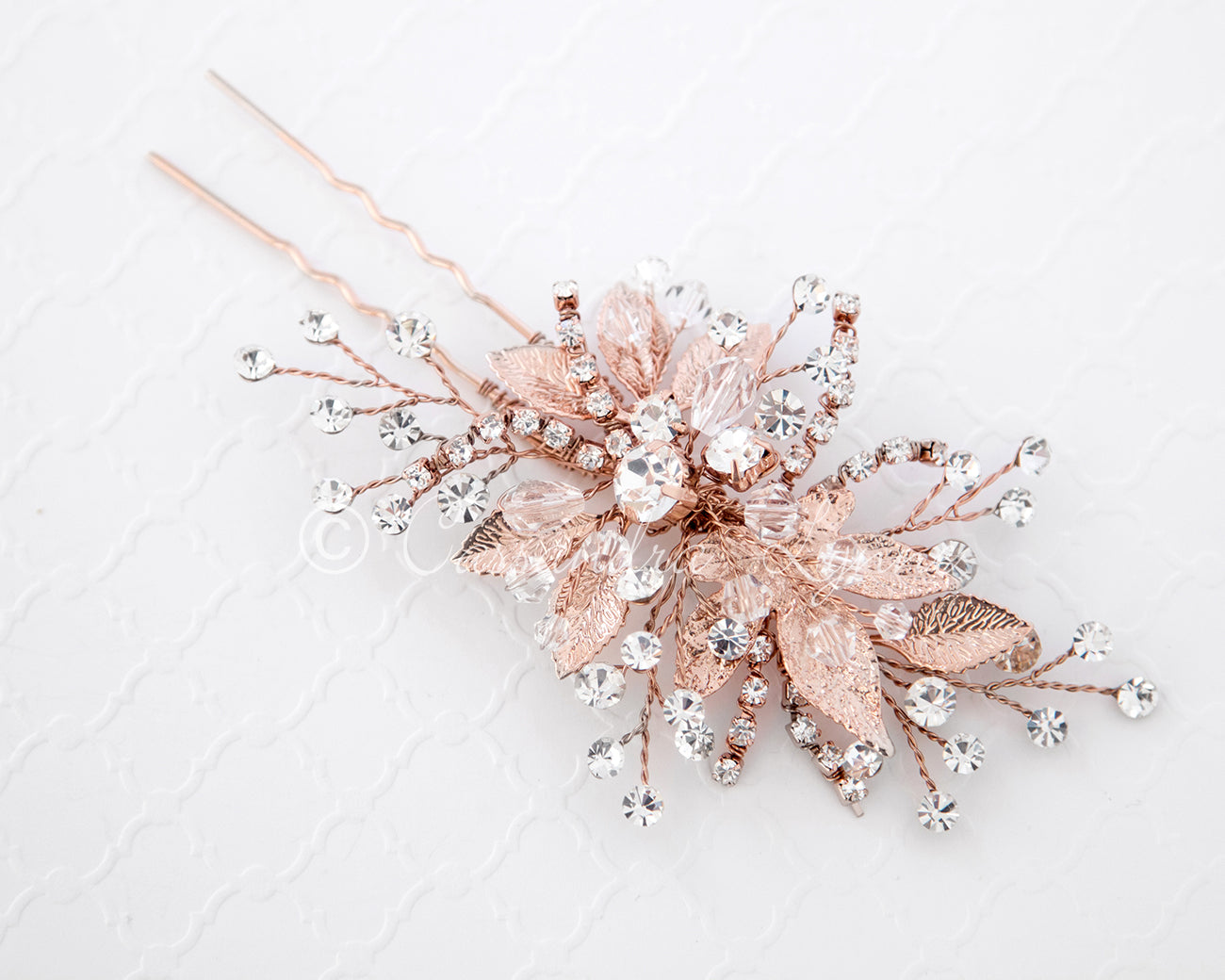 Rose Gold Bridal Hair Pin of Crystals and Leaves