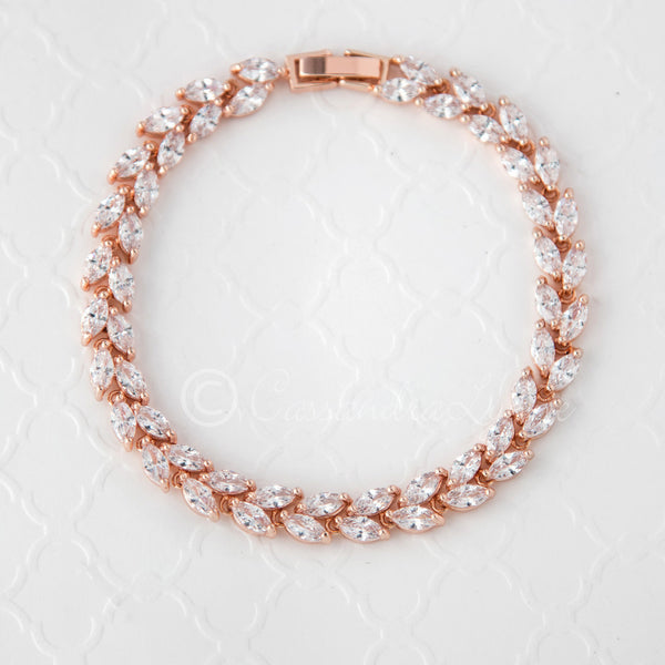 Rose Gold Bracelet of Marquise Jewels