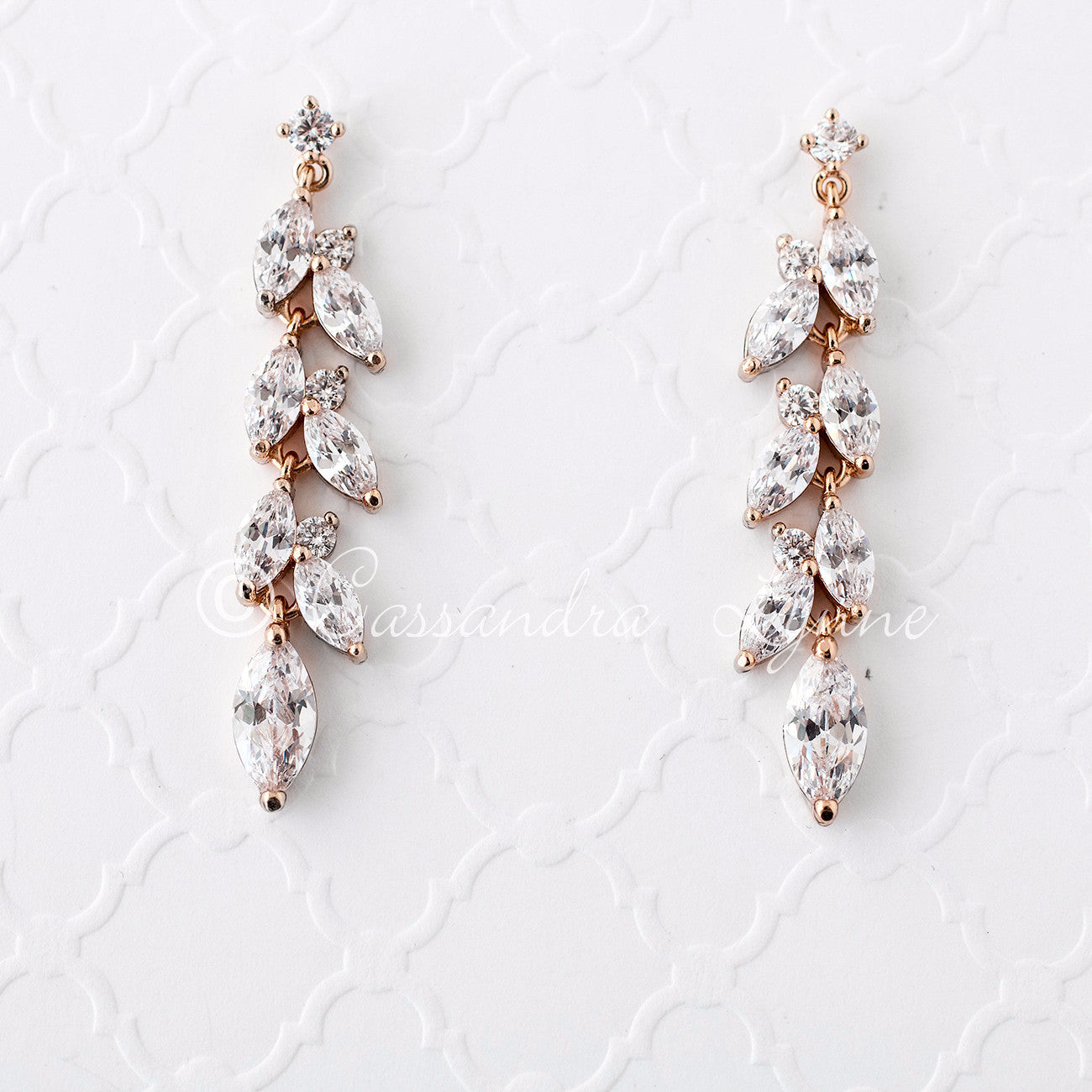 57e6354bd CZ Wedding Earrings with a Marquise Vine Design - Cassandra Lynne