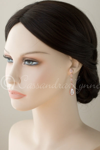 Clip-On CZ Wedding Earrings in Rose Gold