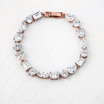 Rose Gold Bridal Bracelet of CZ