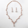 Rose Gold CZ Necklace Set Floral Design