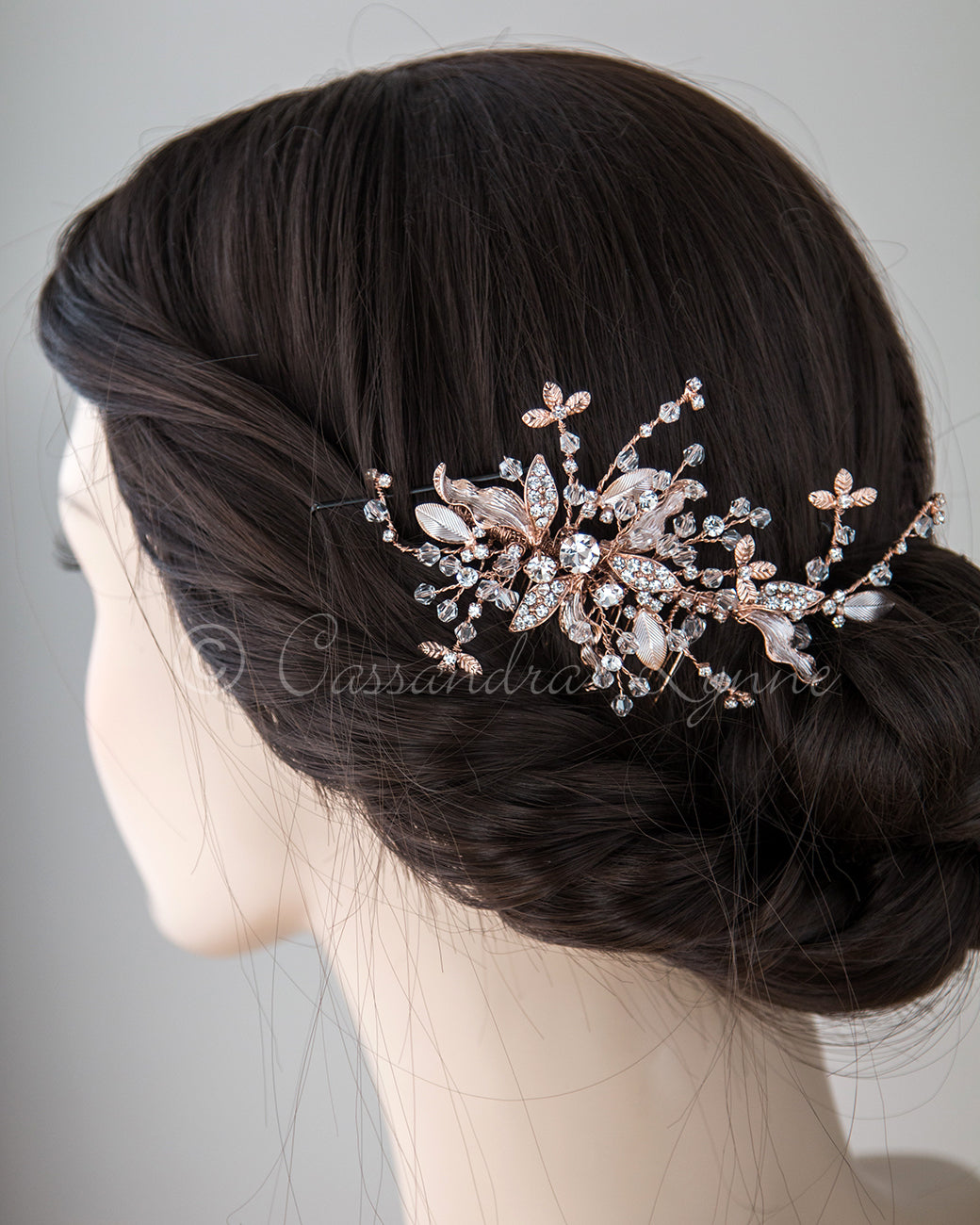 Rose Gold Crystal Hair Comb
