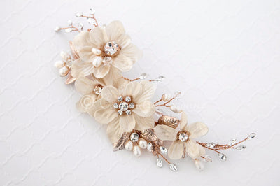 Golden Flower Hair Clip for the Bride Gold