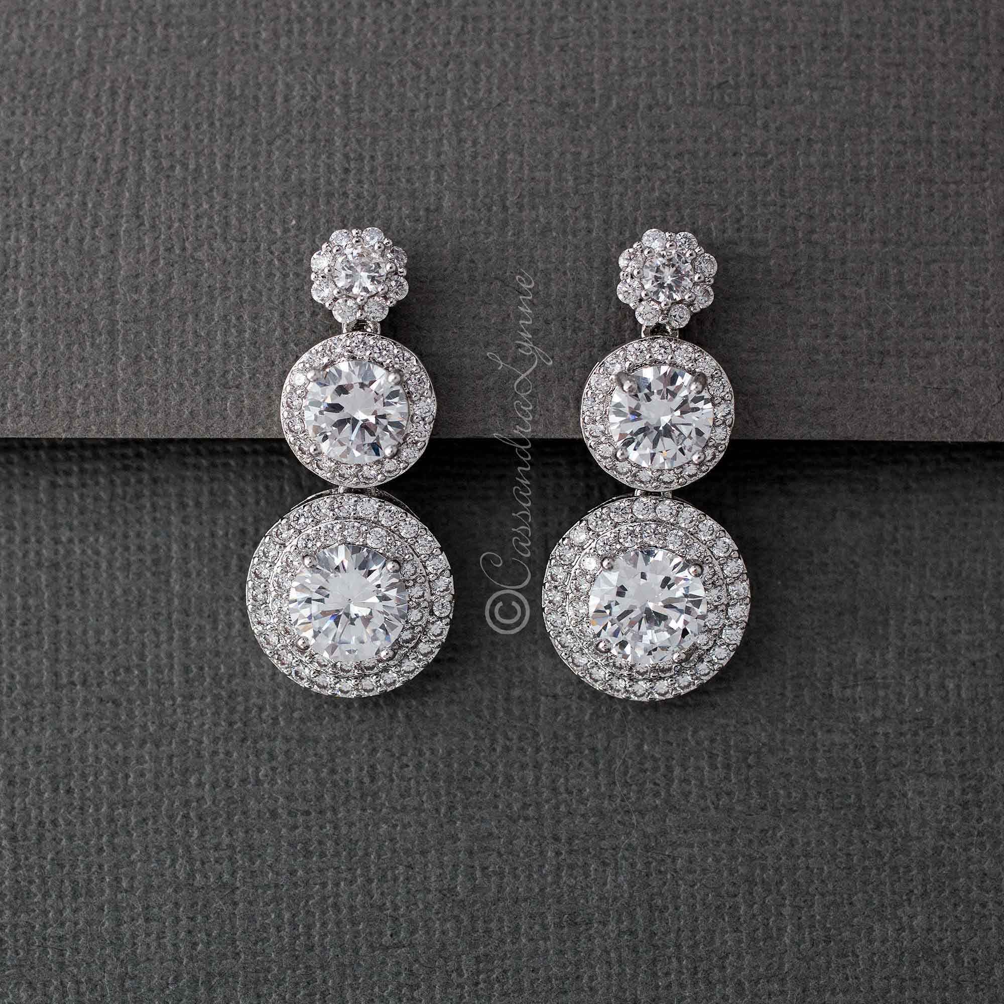 Clip-On Brilliant CZ Stacked Earrings