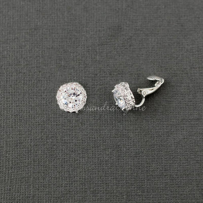 Clip On Pave Round Cz Stud Earrings Cassandra Lynne