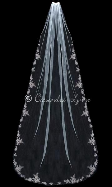 Royal Length Wedding Veil with Beaded Appliques