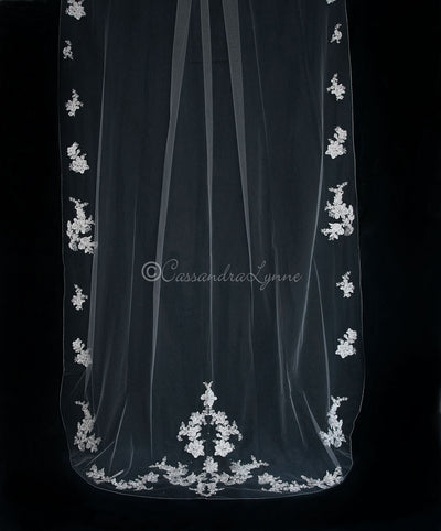 Royal Cathedral Veil with Floral Appliques