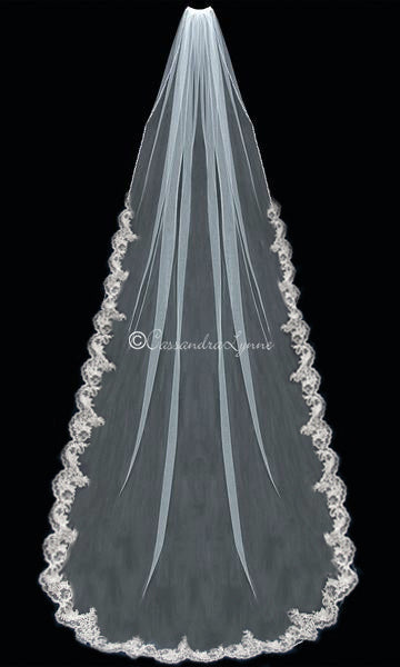 Royal Length Wedding Veil with Lace and Pearls